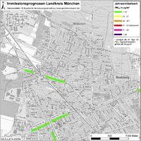 Karte: Immissionsprognosen Landkreis München, Luftqualität Neubiberg, Jahresmittelwert Feinstaub (PM10)