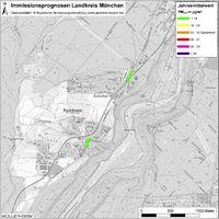 Karte: Immissionsprognosen Landkreis München, Luftqualität Baierbrunn, Jahresmittelwert Feinstaub (PM2,5)