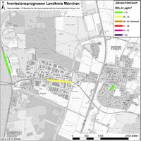 Karte: Immissionsprognosen Landkreis München, Luftqualität Garching, Jahresmittelwert Stickstoffdioxid