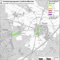 Karte: Immissionsprognosen Landkreis München, Luftqualität Putzbrunn, Jahresmittelwert Feinstaub (PM10)