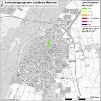 Karte: Immissionsprognosen Landkreis München, Luftqualität Ismaning, Jahresmittelwert Feinstaub (PM10)