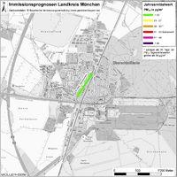 Karte: Immissionsprognosen Landkreis München, Luftqualität Oberschleißheim, Jahresmittelwert Feinstaub (PM10)