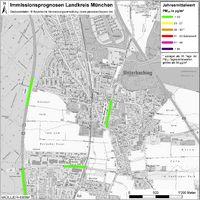 Karte: Immissionsprognosen Landkreis München, Luftqualität Unterhaching, Jahresmittelwert Feinstaub (PM10)