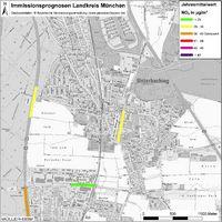 Karte: Immissionsprognosen Landkreis München, Luftqualität Unterhaching, Jahresmittelwert Stickstoffdioxid