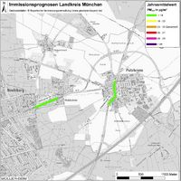 Karte: Immissionsprognosen Landkreis München, Luftqualität Putzbrunn, Jahresmittelwert Feinstaub (PM2,5)