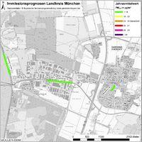 Karte: Immissionsprognosen Landkreis München, Luftqualität Garching, Jahresmittelwert Feinstaub (PM2,5)