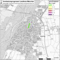 Karte: Immissionsprognosen Landkreis München, Luftqualität Ismaning, Jahresmittelwert Feinstaub (PM2,5)