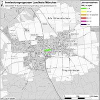 Karte: Immissionsprognosen Landkreis München, Luftqualität Höhenkirchen-Siegertsbrunn, Jahresmittelwert Feinstaub (PM2,5)