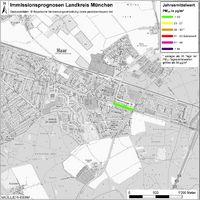 Karte: Immissionsprognosen Landkreis München, Luftqualität Haar, Jahresmittelwert Feinstaub (PM10)
