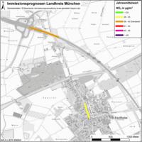 Karte: Immissionsprognosen Landkreis München, Luftqualität Aschheim, Jahresmittelwert Stickstoffdioxid