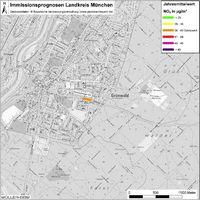 Karte: Immissionsprognosen Landkreis München, Luftqualität Grünwald, Jahresmittelwert Stickstoffdioxid