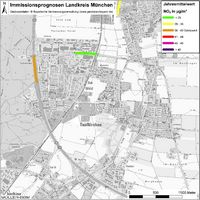 Karte: Immissionsprognosen Landkreis München, Luftqualität Taufkirchen, Jahresmittelwert Stickstoffdioxid