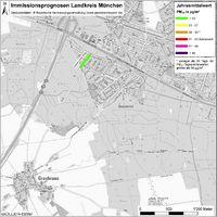 Karte: Immissionsprognosen Landkreis München, Luftqualität Grasbrunn, Jahresmittelwert Feinstaub (PM10)