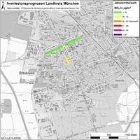 Karte: Immissionsprognosen Landkreis München, Luftqualität Ottobrunn, Jahresmittelwert Stickstoffdioxid