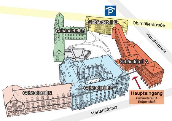 Grafik: Gebäudeteile des Landratsamtes