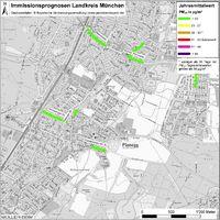Karte: Immissionsprognosen Landkreis München, Luftqualität Planegg, Jahresmittelwert Feinstaub (PM10)