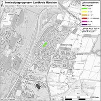 Karte: Immissionsprognosen Landkreis München, Luftqualität Unterföhring, Jahresmittelwert Feinstaub (PM10)
