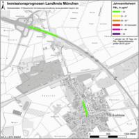 Karte: Immissionsprognosen Landkreis München, Luftqualität Aschheim, Jahresmittelwert Feinstaub (PM10)