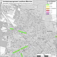 Karte: Immissionsprognosen Landkreis München, Luftqualität Neubiberg, Jahresmittelwert Feinstaub (PM2,5)