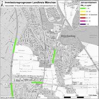 Karte: Immissionsprognosen Landkreis München, Luftqualität Unterhaching, Jahresmittelwert Feinstaub (PM2,5)
