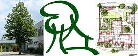 Bilder: ein grüner Baum, eine Baum/Haus Zeichnung und ein Geländeplan