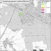 Karte: Immissionsprognosen Landkreis München, Luftqualität Grasbrunn, Jahresmittelwert Feinstaub (PM2,5)