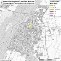 Karte: Immissionsprognosen Landkreis München, Luftqualität Ismaning, Jahresmittelwert Stickstoffdioxid