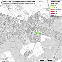 Karte: Immissionsprognosen Landkreis München, Luftqualität Haar, Jahresmittelwert Stickstoffdioxid