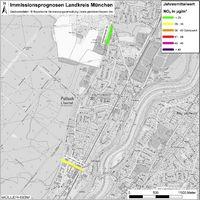 Karte: Immissionsprognosen Landkreis München, Luftqualität Pullach, Jahresmittelwert Stickstoffdioxid