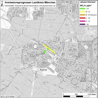 Karte: Immissionsprognosen Landkreis München, Luftqualität Neuried, Jahresmittelwert Stickstoffdioxid