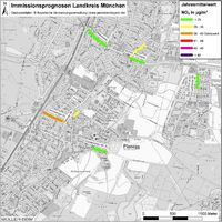 Karte: Immissionsprognosen Landkreis München, Luftqualität Planegg, Jahresmittelwert Stickstoffdioxid