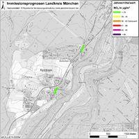 Karte: Immissionsprognosen Landkreis München, Luftqualität Baierbrunn, Jahresmittelwert Stickstoffdioxid