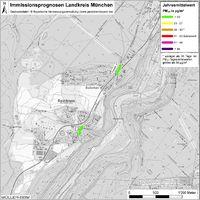 Karte: Immissionsprognosen Landkreis München, Luftqualität Baierbrunn, Jahresmittelwert Feinstaub (PM10)