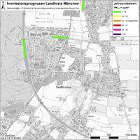 Karte: Immissionsprognosen Landkreis München, Luftqualität Taufkirchen, Jahresmittelwert Feinstaub (PM2,5)