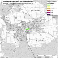 Karte: Immissionsprognosen Landkreis München, Luftqualität Höhenkirchen-Siegertsbrunn, Jahresmittelwert Stickstoffdioxid