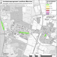 Karte: Immissionsprognosen Landkreis München, Luftqualität Garching, Jahresmittelwert Feinstaub (PM10)