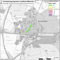 Karte: Immissionsprognosen Landkreis München, Luftqualität Oberschleißheim, Jahresmittelwert Stickstoffdioxid