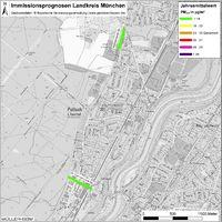 Karte: Immissionsprognosen Landkreis München, Luftqualität Pullach, Jahresmittelwert Feinstaub (PM2,5)