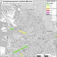 Karte: Immissionsprognosen Landkreis München, Luftqualität Neubiberg, Jahresmittelwert Stickstoffdioxid