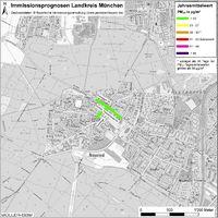 Karte: Immissionsprognosen Landkreis München, Luftqualität Neuried, Jahresmittelwert Feinstaub (PM10)