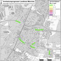 Karte: Immissionsprognosen Landkreis München, Luftqualität Gräfelfing, Jahresmittelwert Feinstaub (PM2,5)