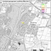 Karte: Immissionsprognosen Landkreis München, Luftqualität Unterföhring, Jahresmittelwert Stickstoffdioxid