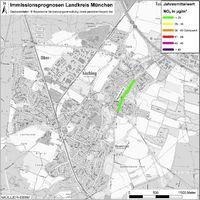 Karte: Immissionsprognosen Landkreis München, Luftqualität Oberhaching, Jahresmittelwert Stickstoffdioxid