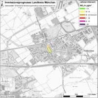 Karte: Immissionsprognosen Landkreis München, Luftqualität Feldkirchen, Jahresmittelwert Stickstoffdioxid