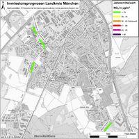Karte: Immissionsprognosen Landkreis München, Luftqualität Unterschleißheim, Jahresmittelwert Stickstoffdioxid