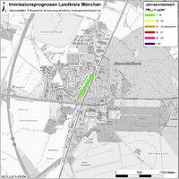 Karte: Immissionsprognosen Landkreis München, Luftqualität Oberschleißheim, Jahresmittelwert Feinstaub (PM2,5)