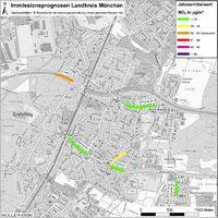Karte: Immissionsprognosen Landkreis München, Luftqualität Gräfelfing, Jahresmittelwert Stickstoffdioxid