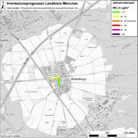 Karte: Immissionsprognosen Landkreis München, Luftqualität Hohenbrunn, Jahresmittelwert Stickstoffdioxid