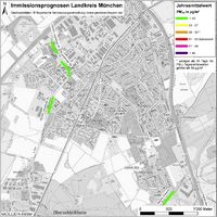 Karte: Immissionsprognosen Landkreis München, Luftqualität Unterschleißheim, Jahresmittelwert Feinstaub (PM10)