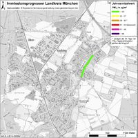 Karte: Immissionsprognosen Landkreis München, Luftqualität Oberhaching, Jahresmittelwert Feinstaub (PM10)